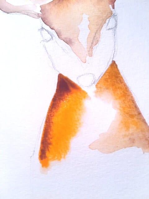 Du siehst die ersten Farbflächen in Aquarell mit den Reh-Farben Sepia und Van Dyck Braun