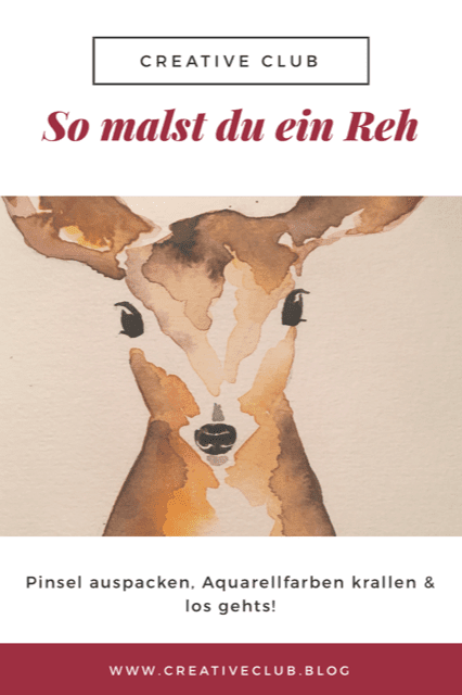 für den blog creative club zeigt dodo ein Reh in Aquarell Technik
