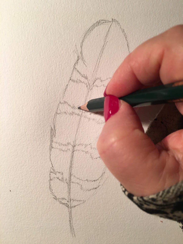 hier siehst du wie ich die Bleistift-skizze anfertige
