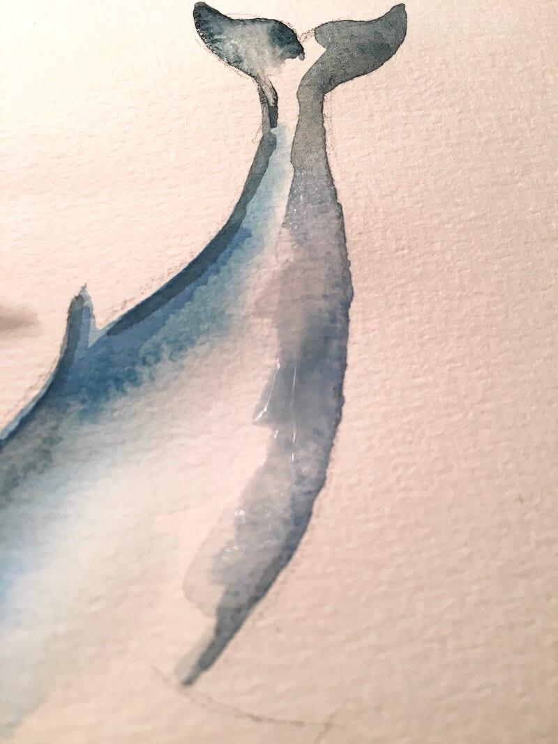 du siehst die zweite farblasur in indigoblau - ein wal von welt muss natürlich eine indigoblaue flosse haben.