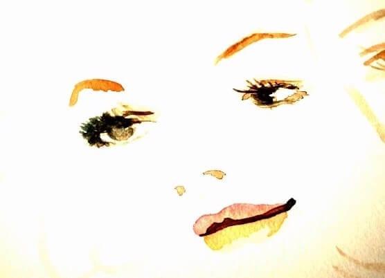 Du siehst einen Ausschnitt aus einem Aquarell von mir, das ein Mädchengesicht zeigt