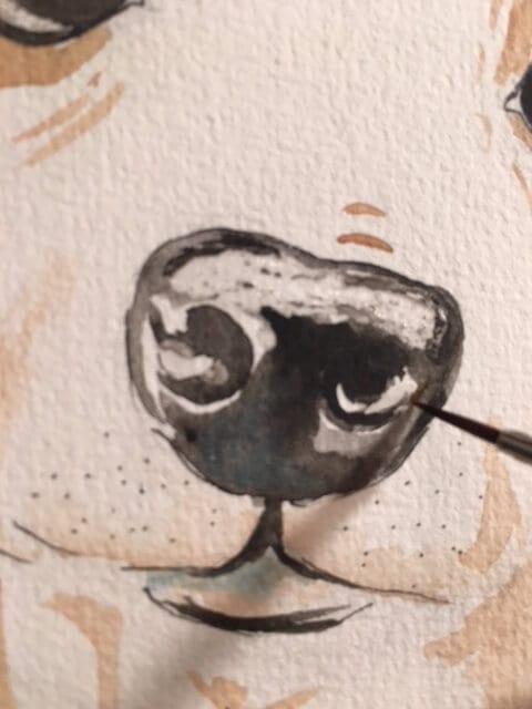 Du siehst wie ich die Schnauze des Whippet mit schwarzer Aquarellfarbe male. Einen Hund in Aquarell-Technik zu malen ist zwar etwas tricky, es zahlt sich aber voll aus!