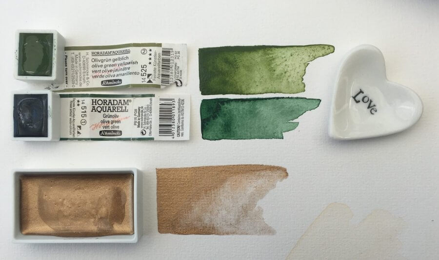Green and gold for the watercolor Waldfräulein