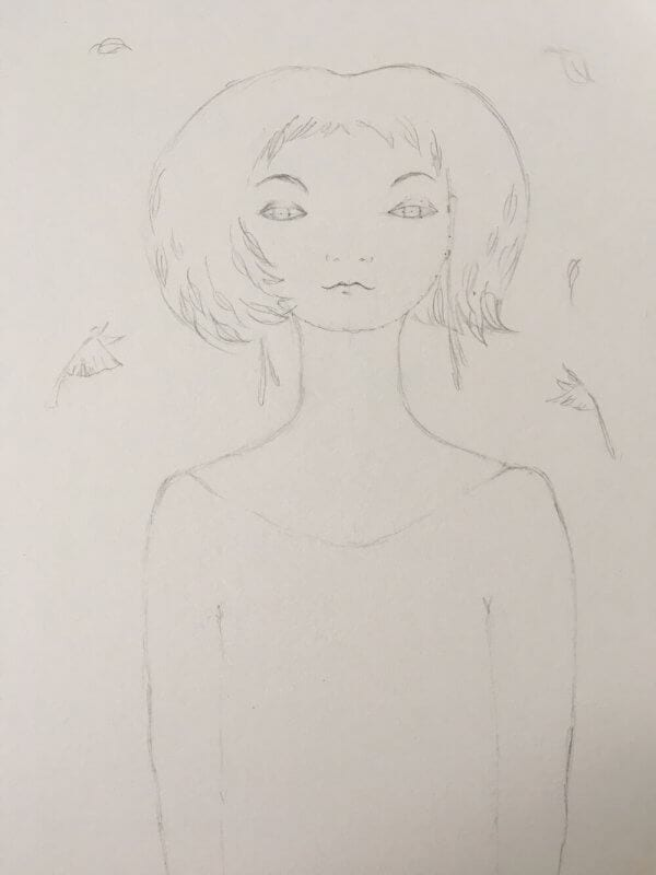 You can see a sketch for the young lady in pencil