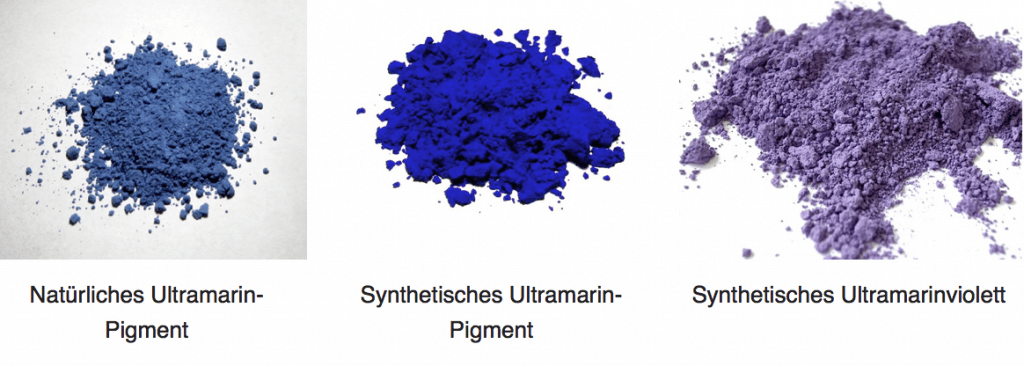 Ultramarinblau Hier siehst du die unterschiedlichen Farbvariationen der Pigment im Bereich Ultramarin