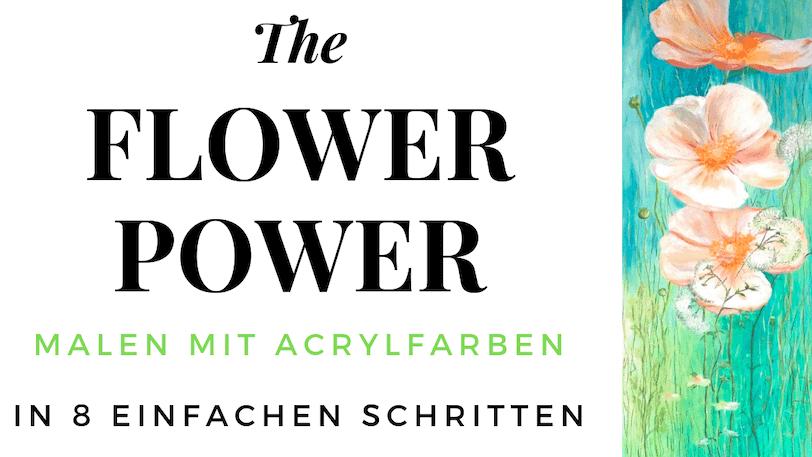 Du siehst das fertige Coverbild der Flowerpower Anemonen in Acryl
