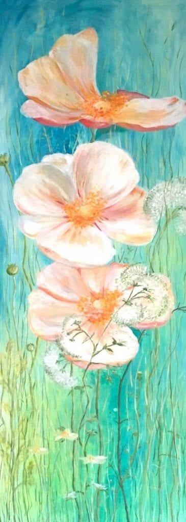 du siehst ein Blumenbild in Acryl gemalt