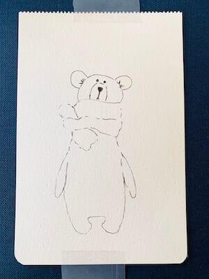 Man sieht einen Bären, gemalt von Dodo Kresse, hier die Outlines in schwarzem Pigmentstift.