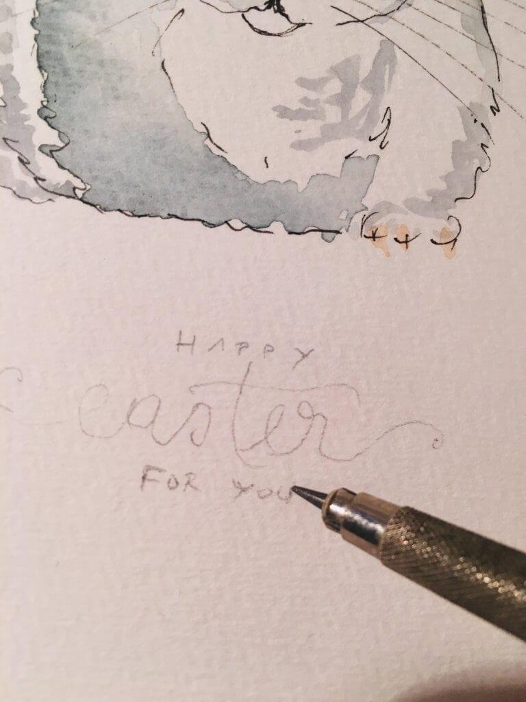 Du siehst hier wie Dodo den Ostergruß vorzeichnet