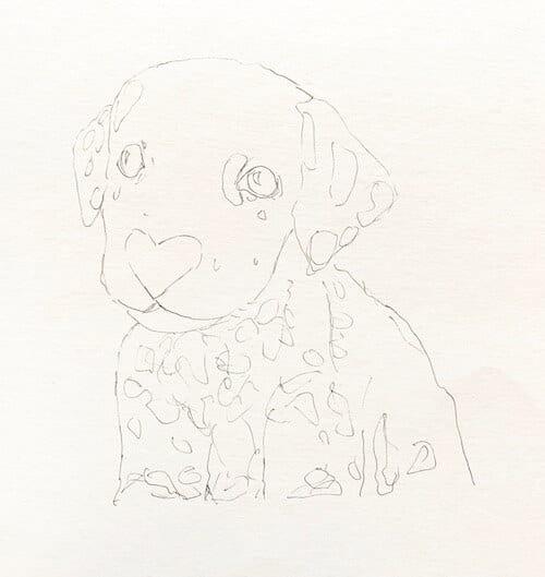Man sieht die Vorlage zu einem Aquarell eines Dalmatiner von Dodo Kresse für Creative Club.