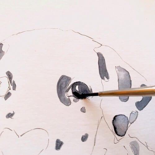 Hier sieht man wie Dodo Kresse die Augen des Dalmatiners malt.