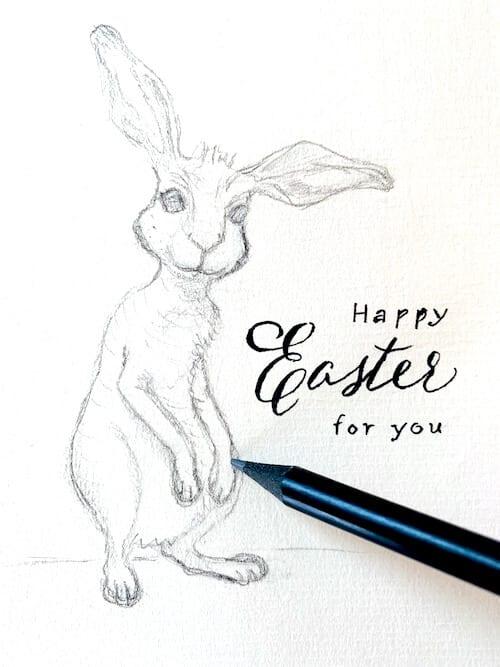 Hier siehst du die Bleistiftskizze eines Osterhasen, gezeichnet von Dodo Kresse