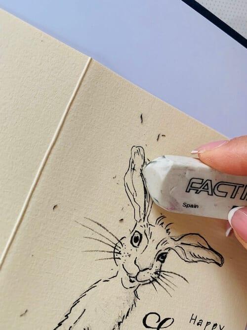 Die Künstlerin radiert die Bleistiftlinien weg, nachdem die Vorzeichnung fertig ist und mit Tuschestift nachgezogen wurde.