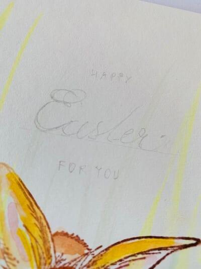 Die Vorzeichnung des Ostergrußes wird mit Bleistift in Härte HB gemacht