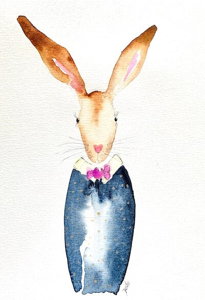 Man sieht das fertige Aquarell Carl der Champagner-Hase