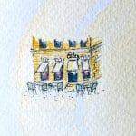 Man sieht das Cafe Eiles in Watercolor