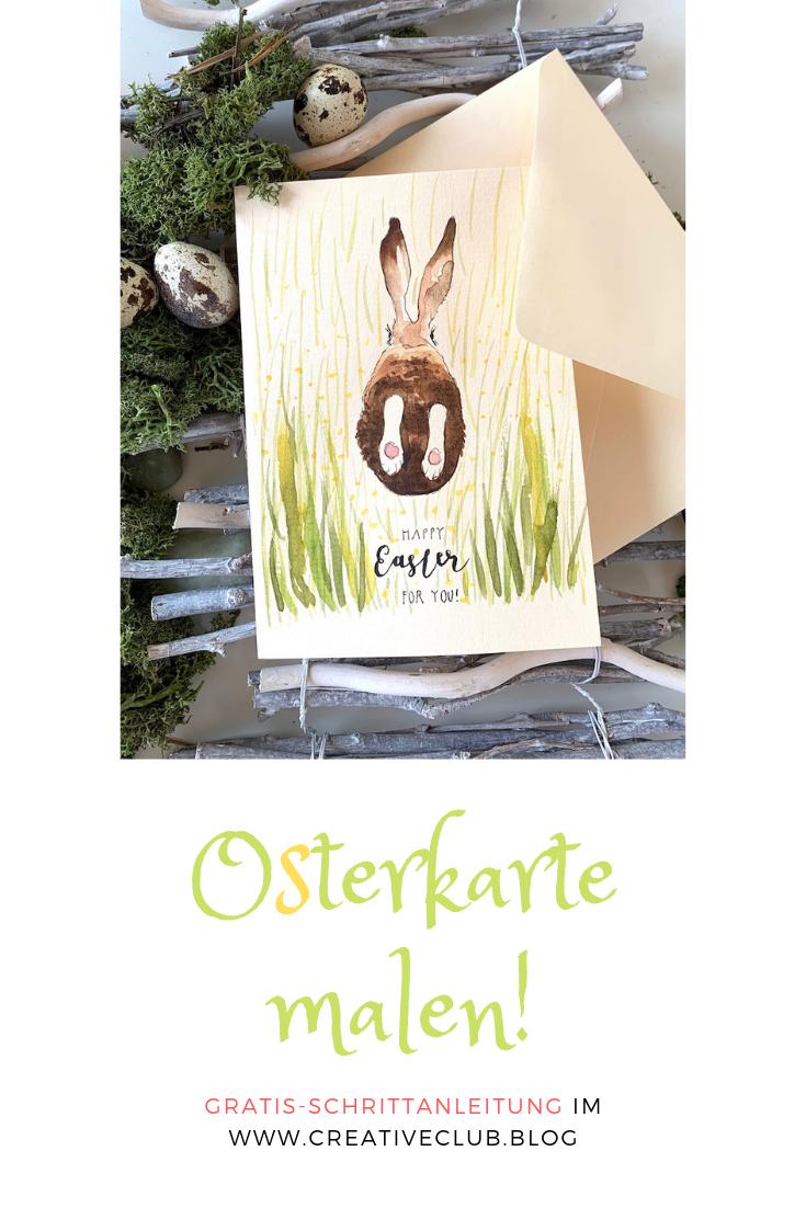 Man sieht eine Osterkarte, gemalt von Dodo Kresse für Creative Club. Er ist mit Aquarellfarbe gemalt und trägt das Lettering Happy Easter for you!