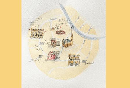 Man sieht einen Stadtplan von Wien mit 6 Cafes, die alle im Briefroman AKRIAS KLEIDER von dodo Kresse vorkommen