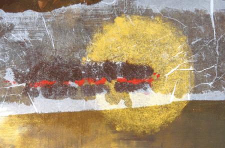 Man sieht ein Gemälde von Dodo Kresse, Acryl Mixed Media 40 x 20 cm