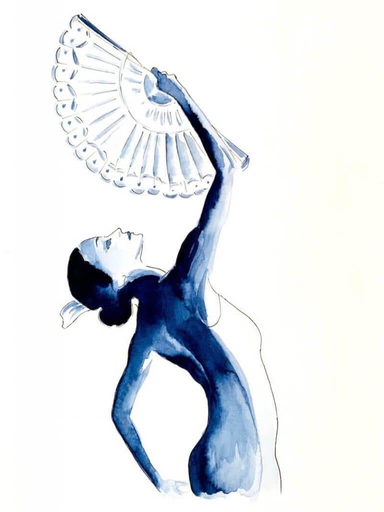 Du siehst das fertige Aquarell der Tango Lady mit Fächer in Indigo-Blau