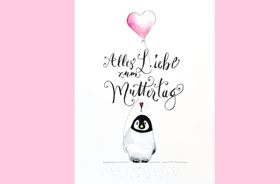 Hier siehst du das Aufmacherfoto der Muttertagskarte in Aquarell mit dem kleinen Pinguin.