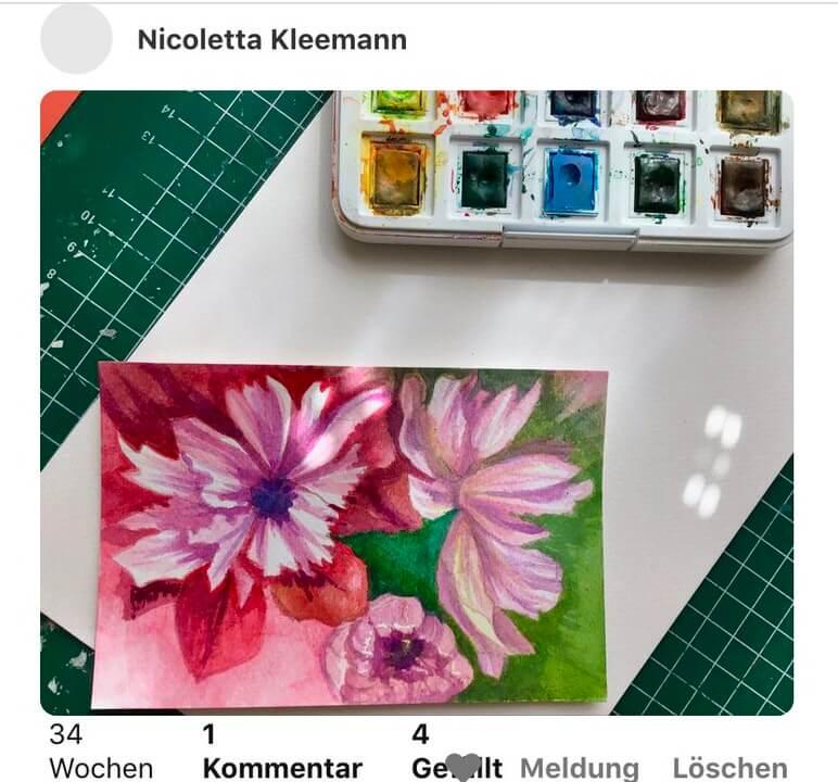 Du siehst hier ein farbenfrohes Aquarellbild des Pfingstrosen-Motivs einer meiner Pinterest-Follower