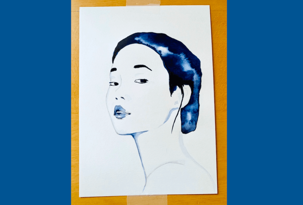 du siehst ein frauenportrait in indigoblau von dodo für creative club