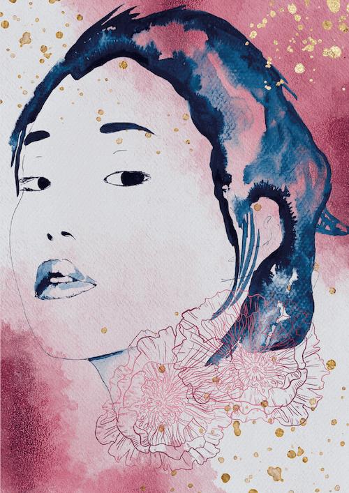 du siehst ein foto der fertigen aquarell -Illustration Blue Geisha