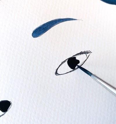 du siehst wie ich die pupille male