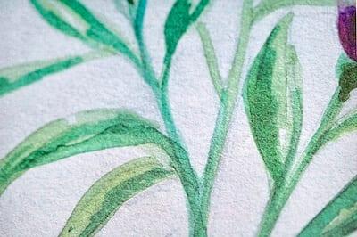 du siehst die Blätter mit grünen Aquarell Farben