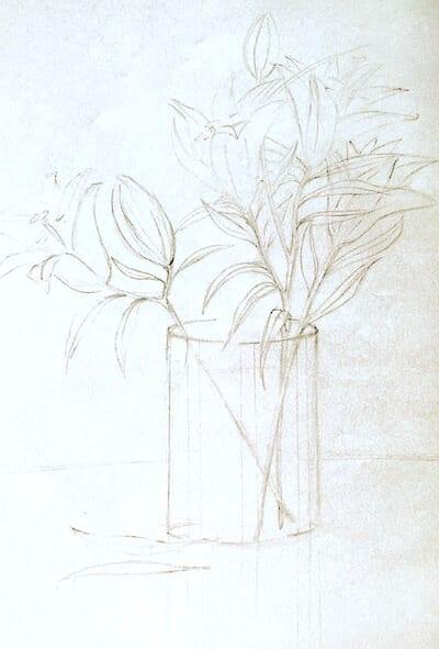 du sieht die vorzeichnung zum Aquarell Lilien