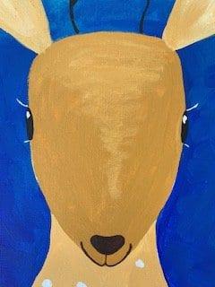 Hier siehst du, wie du die Schnauze des Bambi malen kannst