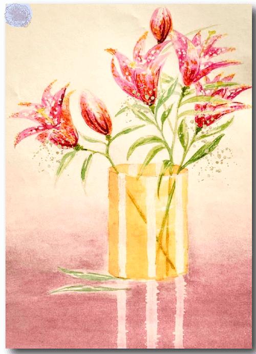du siehst das fertige lilien-aquarell