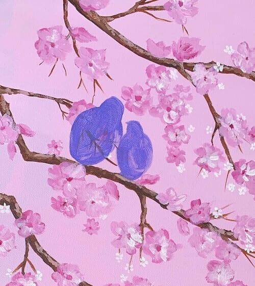 du siehst die erste farbschicht für die beiden vögel mit violetter acrylfarbe