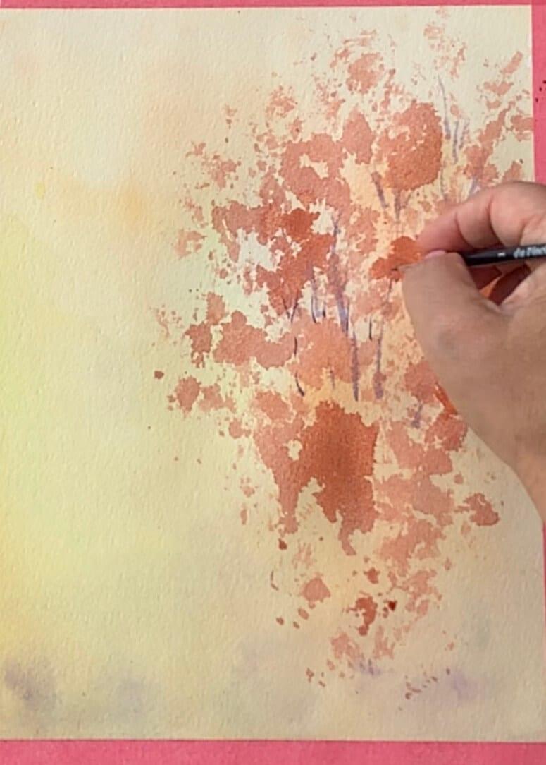 du siehst wie ich die Baumstämme male