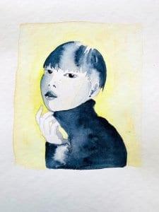 Du siehst das fertig kolorierte Portrait mit Indigoblau und einem zitronengelben Hintergrund