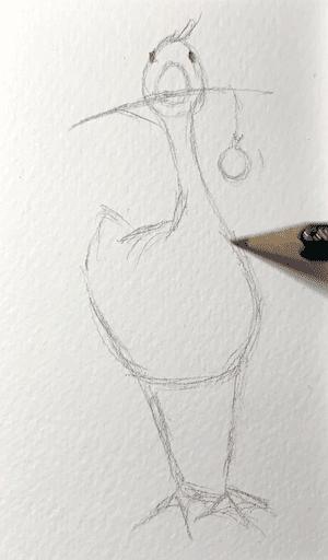 Mit Bleistift zeichne ich den Bauch der Gans