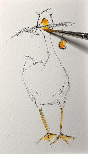 Du siehst wie ich den Schnabel male
