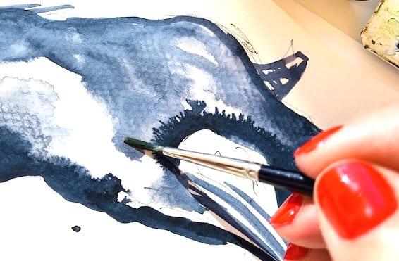 Du siehst wie ich mit Indigo in einem Aquarell arbeite. Man sieht meine Hand mit dem Pinsel