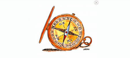 Du siehst einen Kompass mit Aquarellfarben koloriert