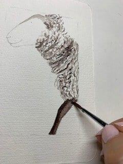 du siehst wie ich das Bein des Schafs male