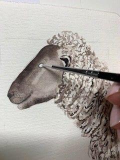 du siehst wie ich mit Deckweiß das augenweiß male
