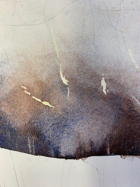 Mit Wasser malen ist grandios! Hier siehst du, wie die Bäume langsam erscheinen, während das Ultramarin trocknet