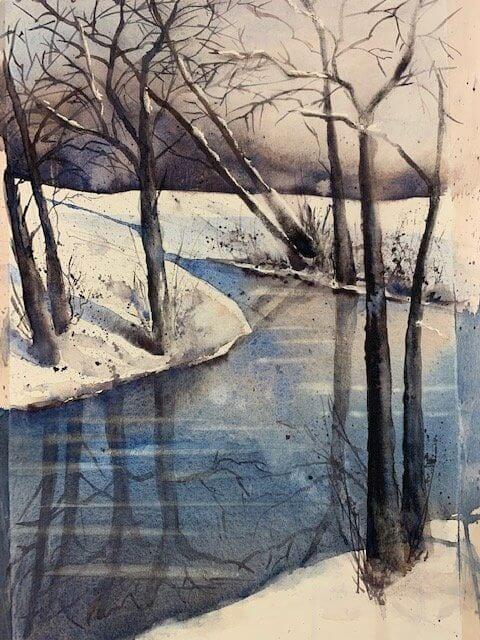 Du siehst das Aquarell Atem_des_Januar und winterliche Wasser Spiegelungen der Bäume