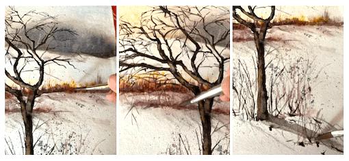 hier siehst du wie ich die Äste der Bäume mit siena gebrannt male