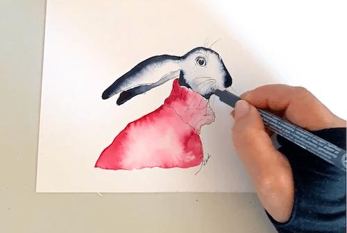 Du siehst, wie ich die Schnurrbarthaare der Osterhäsin zeichne