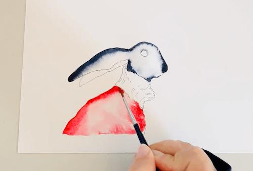 Du siehst wie ich den karmesinroten Pulli male
