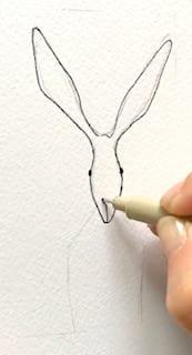 du siehst hier den Anfang der Zeichnung Osterhase Hugo