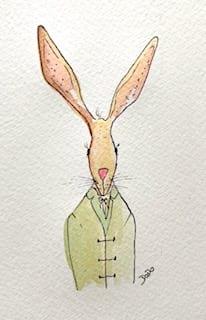 Die Osterkarte Hugo als fertige Illustration mit Aquarellfarben