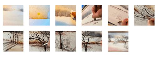 Du siehst eine Schrittanleitung für das Aquarellbild Winterzauber